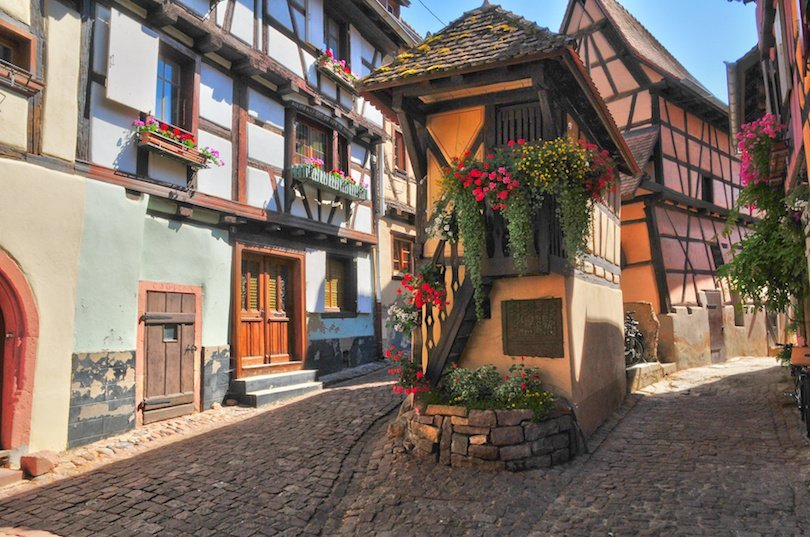 France, the picturesque village of Eguisheim in Alsace